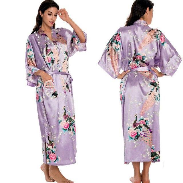 Light Purple Newest Women Lengthen Kimono Bathrobe Wedding Robe Night Gown Sleepwear Silk Satin Plus Size