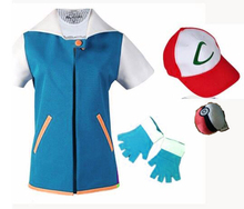 Pokemon Ash Ketchum Trainer Costume Cosplay T Shirt + Gloves Hat Cap