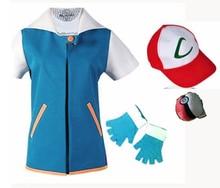 Pokemon Ash Ketchum Trainer Costume Cosplay T Shirt + Gloves + Hat Cap Ash Ketchum Costume стоимость