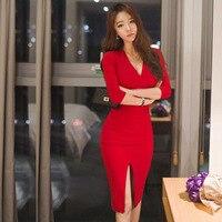 2017 الخريف ميدي النساء ضمادة مكتب حزب مثير bodycon اللباس الأسود الأحمر خمر vestidos زائد الحجم فساتين بأكمام طويلة العنق