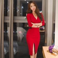 Autumn Maxi Women Long Bandage Office Party Sexy Bodycon Black Red Vintage Dress Vestido De Festa