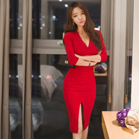 Midi Women Dress Bandage Office Party Sexy Bodycon Black Red Vintage Dress Vestidos Plus Size Half sleeve V Neck Dresses