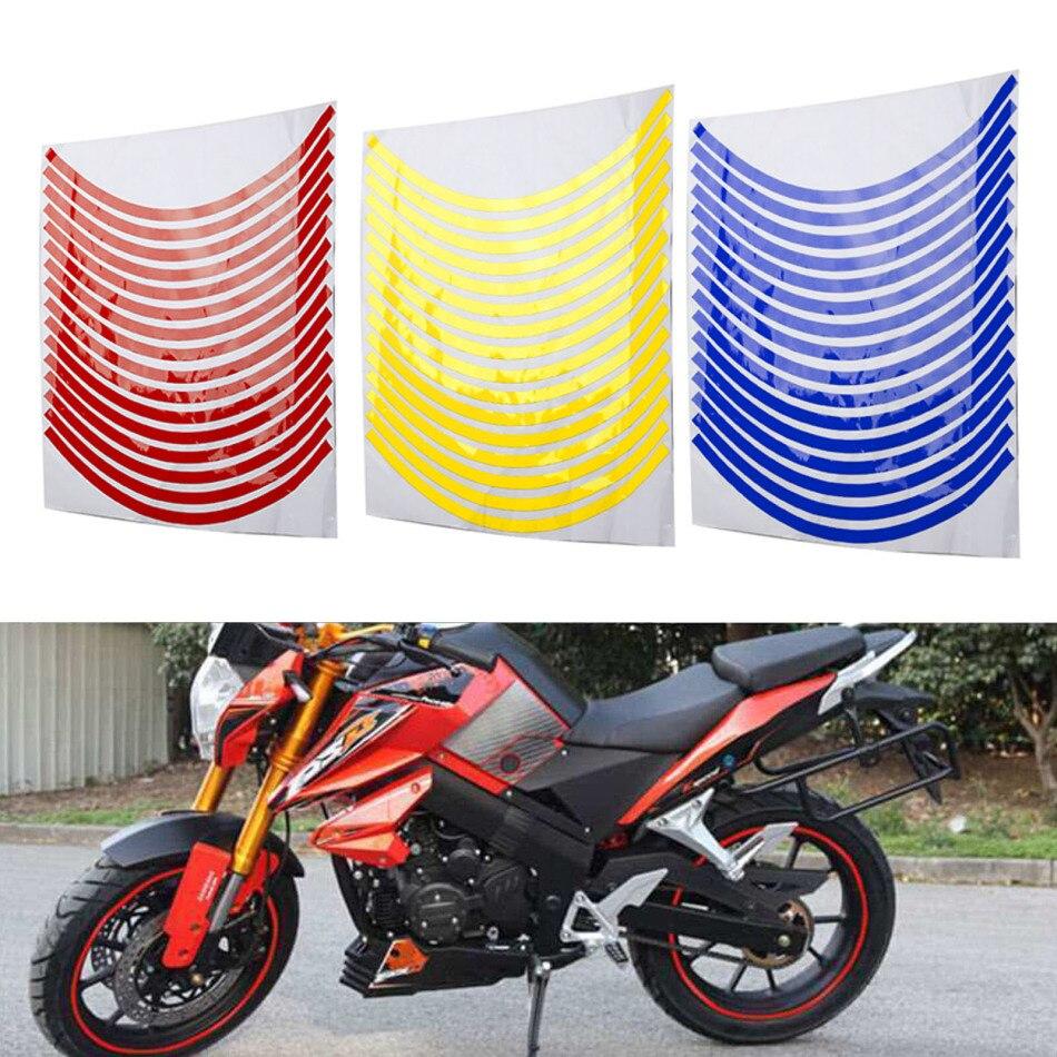 New 16 Pcs Strips Motorcycle Car Wheel Rim Sticker Reflective Decals Rim Tape 18 Inch Bicycle Car Decal For Yamaha Honda Suzuki