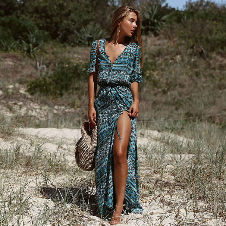 Women Summer Casual Bohemian Beach Loose  Ethnic Dress Patterns Print Boho Mini Blouse Dress 3/4 Sleeve Hippie Vestidos