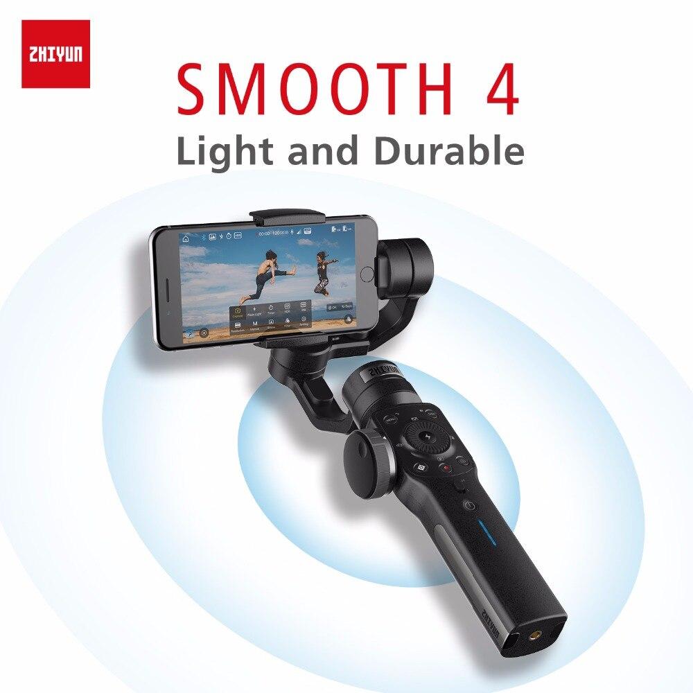 ZHIYUN Officiel Lisse 4 Stabilisateur de Cardan À 3 Axes pour iPhone XS Max XR 8 plus Gopro Hero 5 SJCAM SJ7 Xiaomi Yi 4 k caméra d'action