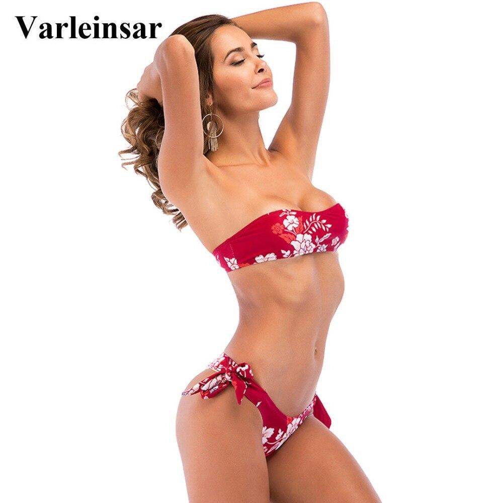 927190c633 2018 Sexy Red Floral Bandeau bikini two pieces swimsuit female swimwear  bathing suit swim wear women Bather S-XL V675