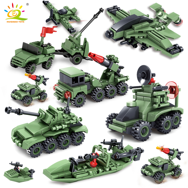 363+pcs Military Army series Car Helicopter Building Block Toys compatible tank weapon Technic City brick for children