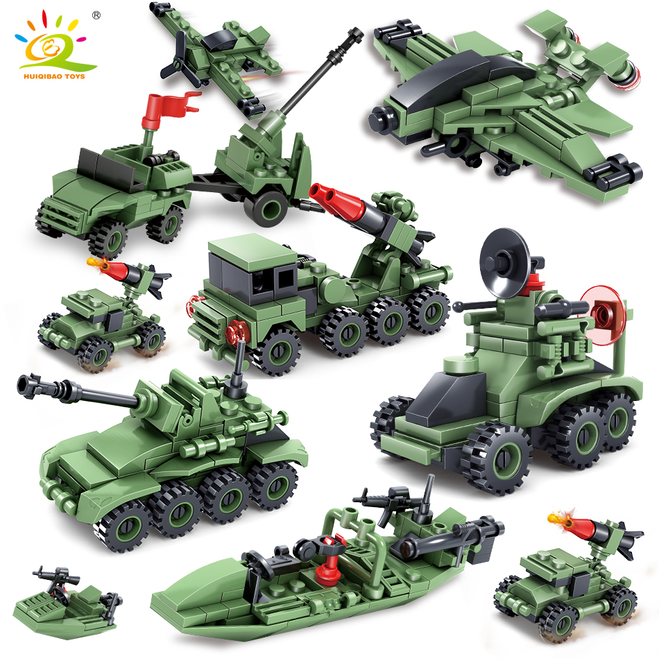 363+pcs Military Army series Car Helicopter Building Block Toys compatible legoed tank weapon Technic City bricks for children
