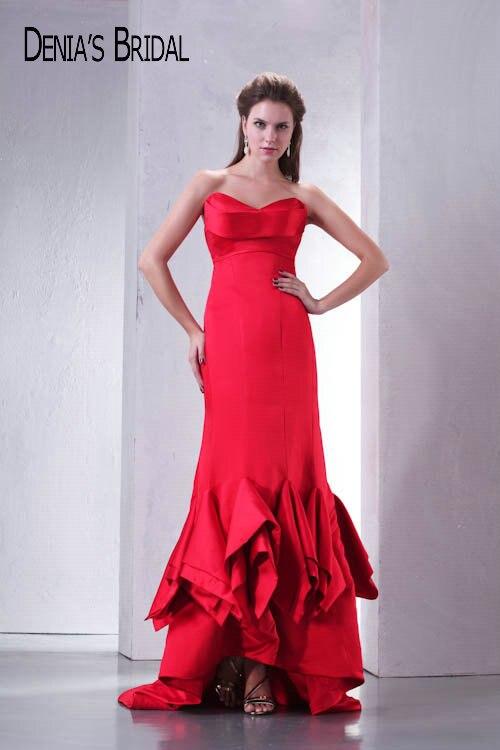 Vraies Photos rouge chérie volants sirène robes de soirée longueur au sol chapelle Train longues robes de bal