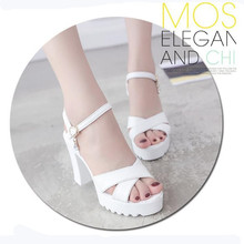 Sandals female 2018 summer new Korean version of high-heeled sandals a word buckle fashion wild thick with women sandals 2018 summer new sandals female hollow word buckle high heeled shoes high heels wild with a single shoes women s shoes f072