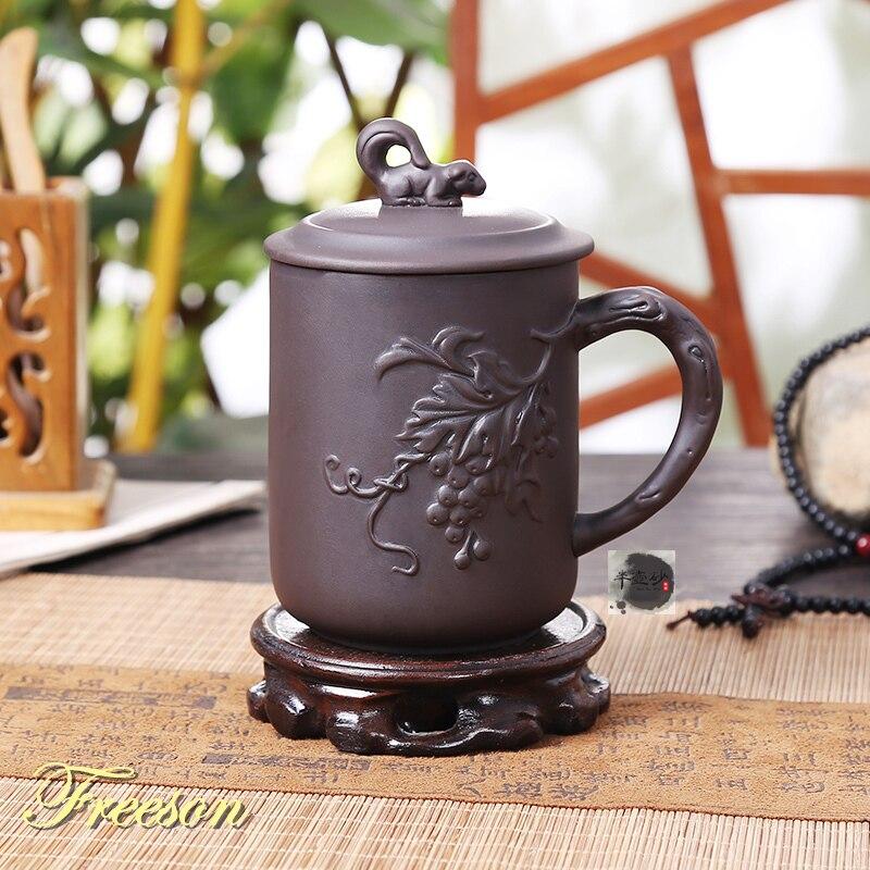 Retro Chinese Rich and Honored Purple Clay Tea Mug with Lid Handmade Yixing Zisha Tea Cup 420ml Teacup Gift Mug