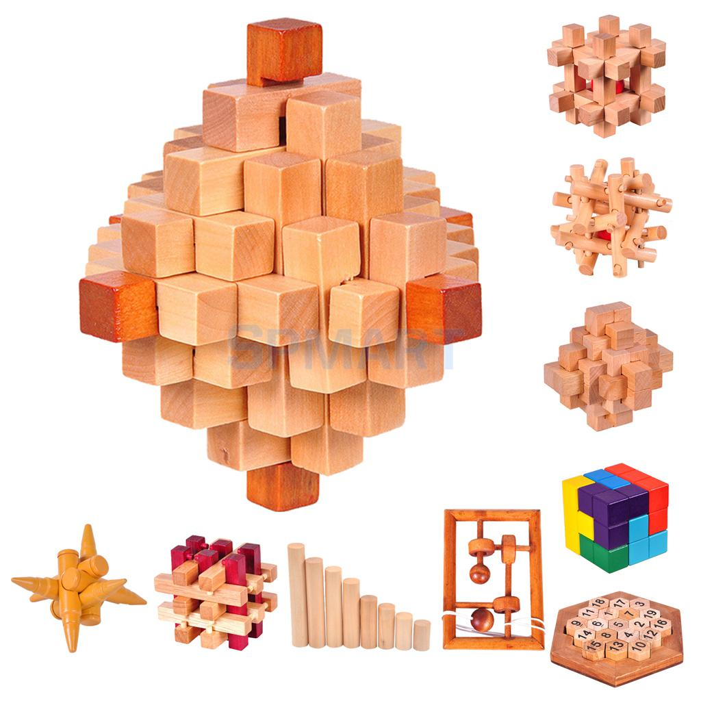 Wooden Unlock 3D Puzzle Kongming Luban Lock IQ Brain Teaser Test Intelligence Toys ...