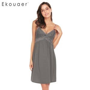 Image 1 - Ekouaer Women Sexy Nightgown Spaghetti Strap V Neck Sleeveless Lace Patchwork Backless Summer Sleepwear Female Home Clothing