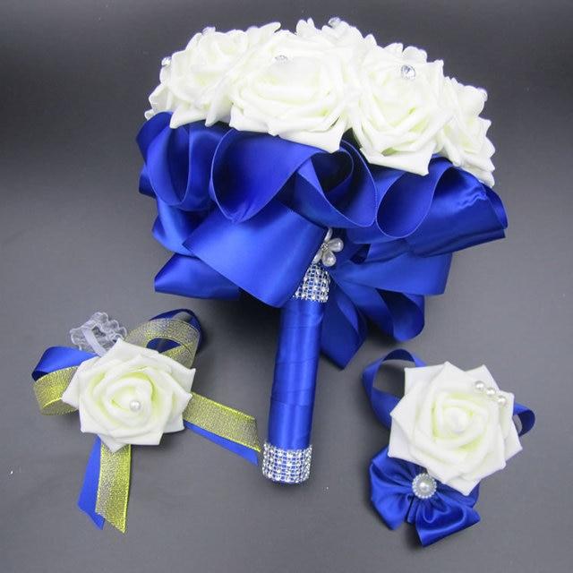 3pc Set Bouquet and Wrist Corsage and Boutonniere Blue buque de noiva White Artifical Rose Wedding Bridal Bridesmaid Flowers FE4