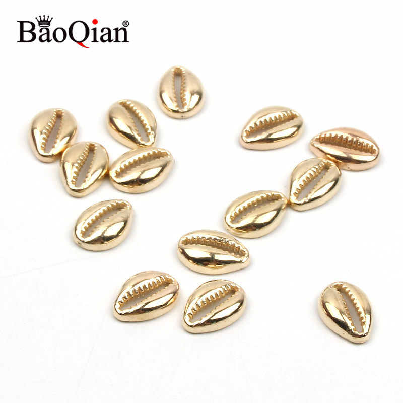 50pcs Golden Plastic Sea Shells  Coquillage Beach Decor Diy Home Decoration Marine Style Jewelry Embellishment 12x17/13x19mm
