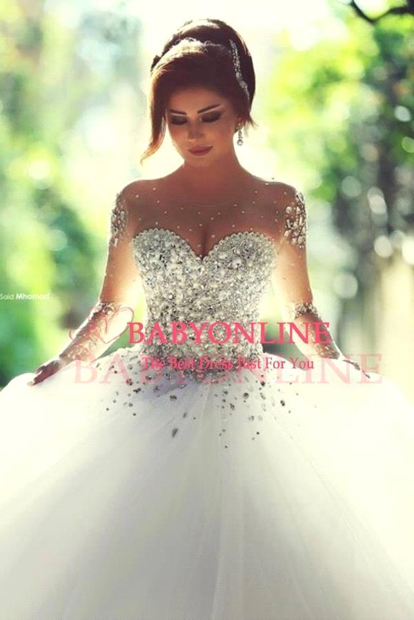 aliexpresscom buy fashionable crystal beaded ball gown wedding gowns 2015 designer see through tulle bride dress long sleeve wedding dresses from