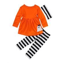 88cd0bebf 3 قطع طفل أطفال بنات القمم بلوزة قميص أصفر + هالوين مخطط السراويل الزي  القطن الخريف الشتاء الملابس 2-7y