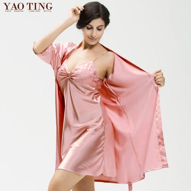 4 Цвет Новая Осень Женщины Ночь Платье 2 Шт. Халаты Халаты Longue Femme Халат Установить Шелковый Атлас Ночная Рубашка Ночная рубашка Ночная рубашка 7037