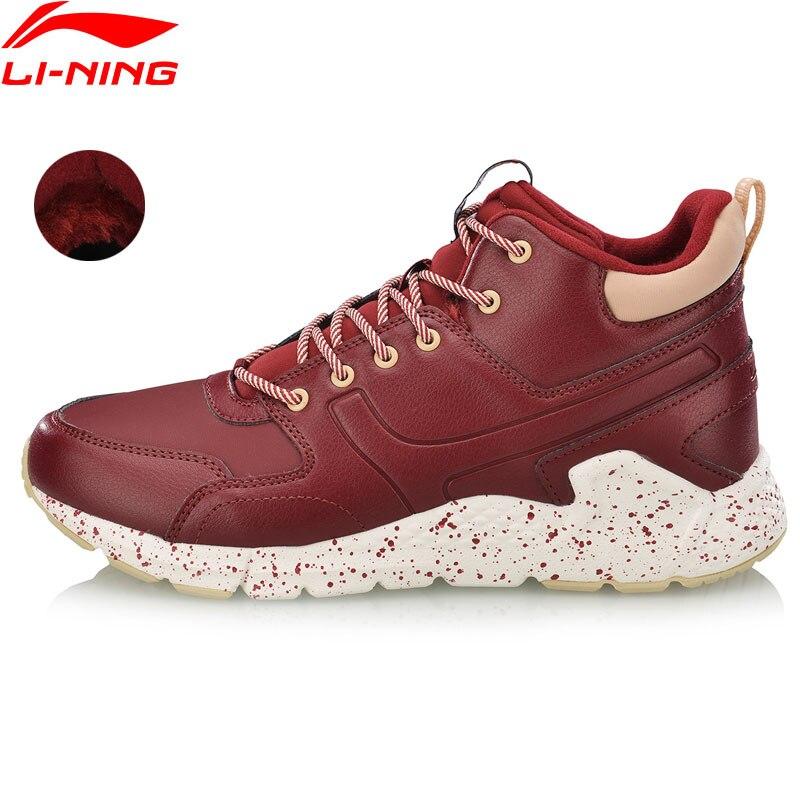 Li-Ning Women LN VOLCANO Classic Leisure Shoes Wearable Fleece Warm Anti-slip Sneakers LiNing Sport Walking Shoes AGCN188 SOND18