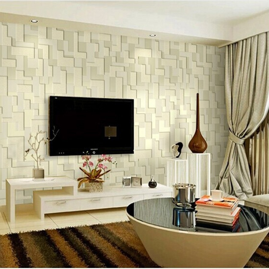 beibehang mural embossed mosaic minimalist bedroom living room TV background Non-woven wallpaper 3D wallpaper roll wall paper