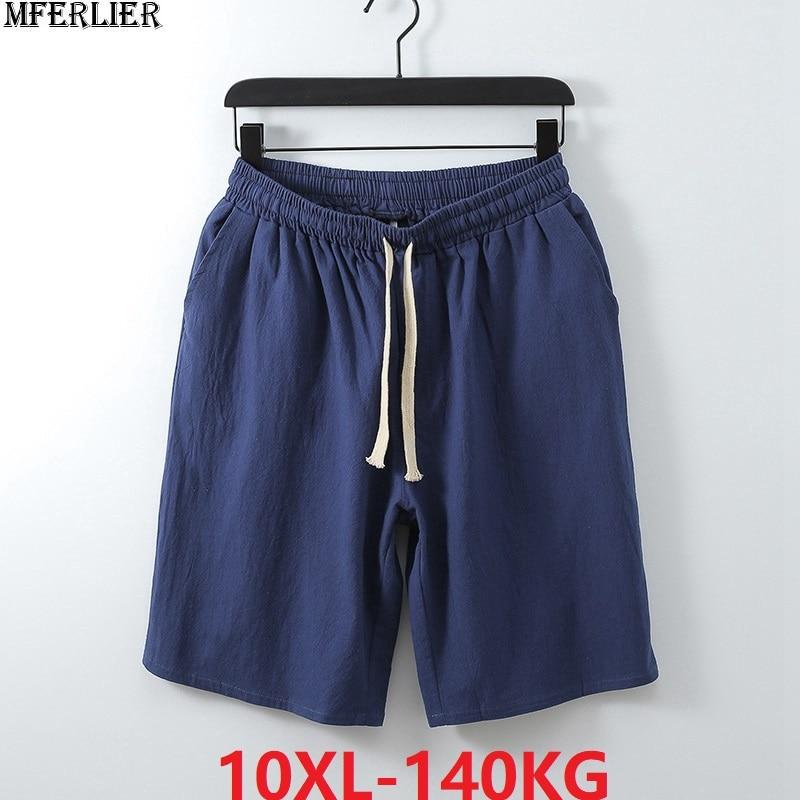 Summer Vintage Shorts Men Chinese Style Shorts Cotton Casual Home Mens Shorts Plus Big Size 7XL 8XL 9XL 10XL Khaki Black Gray 48