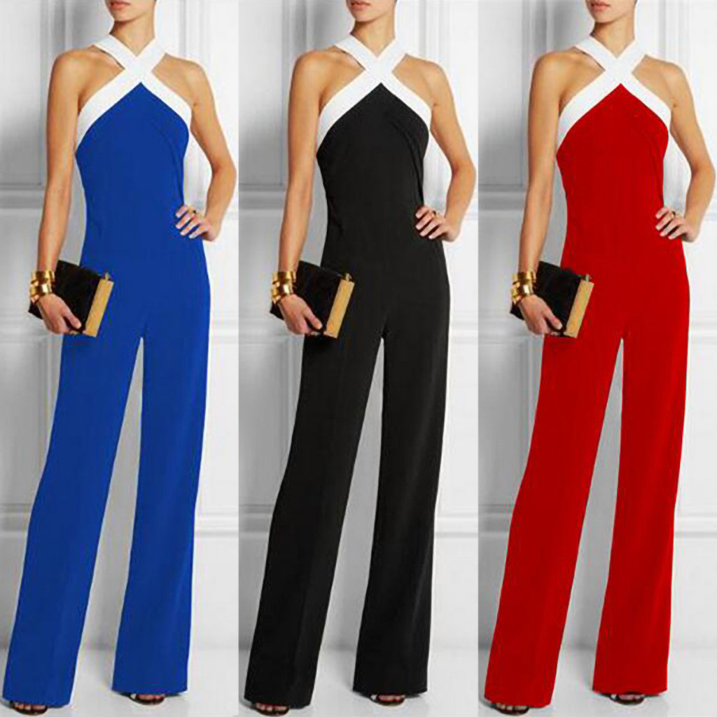 Summer fashion women's office elegant sexy   jumpsuit   lacks shoulder color matching waist   jumpsuit   ladies   jumpsuits   elegant L312