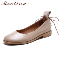 Meotina Shoes Women Genuine Leather Women Flats Casual Ladies Boats Shoes Size Large 34 43 Slip