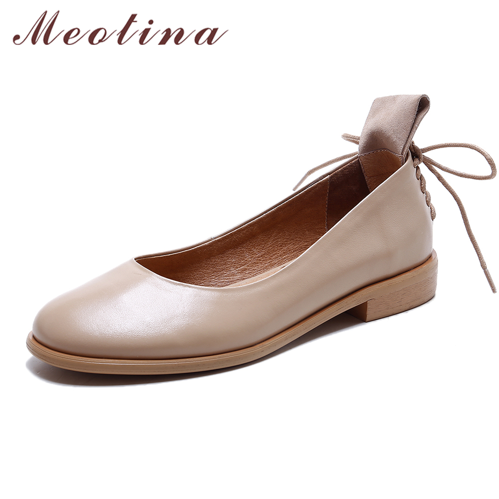 Meotina Shoes Women Genuine Leather Women Flats Casual Ladies Boats Shoes Size Large 34-43 Slip On Autumn Ladies Flats Sapatos meotina women flat shoes ankle strap flats pointed toe ballet shoes two piece ladies flats beading causal shoes beige size 34 43