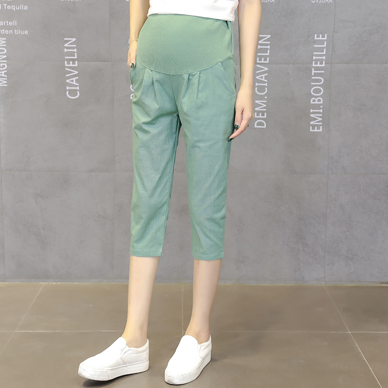 9807# 7/10 Linen Maternity Short Pants Summer Casual Adjustable Belly Capris Pants for Pregnant Women Pregnancy Drop Shipping