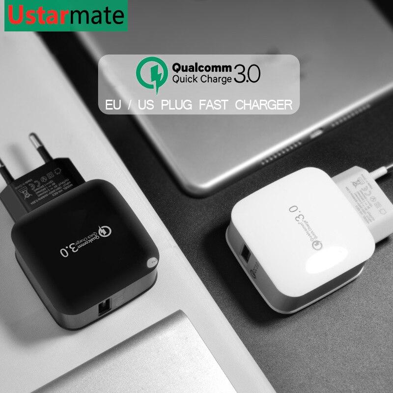 Универсальный QC 3,0 Quick Charge 3,0 5 V 3A мобильный телефон USB быстро Зарядное устройство ЕС США разъем зарядки для samsung S8 S9 iPhone huawei