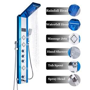 Image 2 - ULGKSD LED פנל מקלחת גשם מפל מקלחת טמפרטורת מסך עיסוי ספא W/בידה Jet ארבעה ידיות מיקסר ברז כיור ברז סט