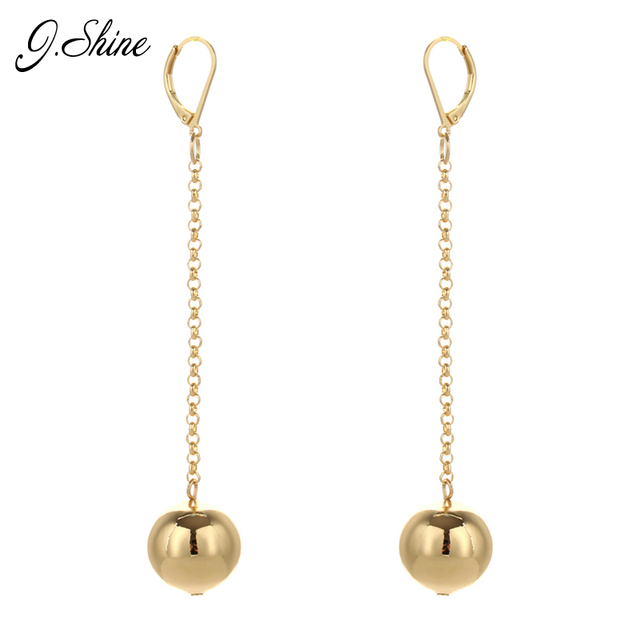 Simple Geometric Round Gold Color Ball Long Disc Hanging Drop Dangle Earrings Women Vintage