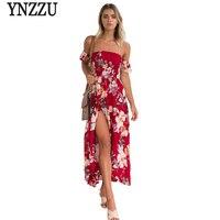 New Floral Print Women 2017 Summer Dress Off Shoulder Short Sleeve Sexy Red Split Boho Beach