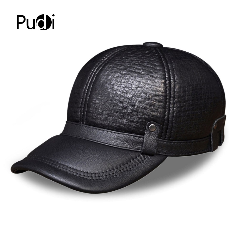 HL070 Men's genuine leather baseball cap brand new style winter warm Russian real leather black caps men's hats