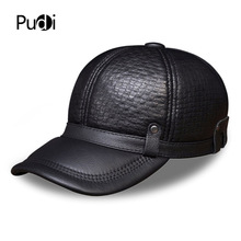 HL070 Men's genuine leather baseball cap brand new style winter warm Russian real leather black caps hats men genuine leather cowskin cap 100% leather russian winter warm baseball solid color fashion hats cs113