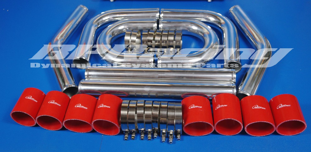 UNIVERSAL 2.5 INCH / THICKNESS  2 MM / HIGH QUALITY ALUMINUM TURBO INTERCOOLER PIPING KIT/ PIPES /CLAMP /SILICONE COUPLER / Red