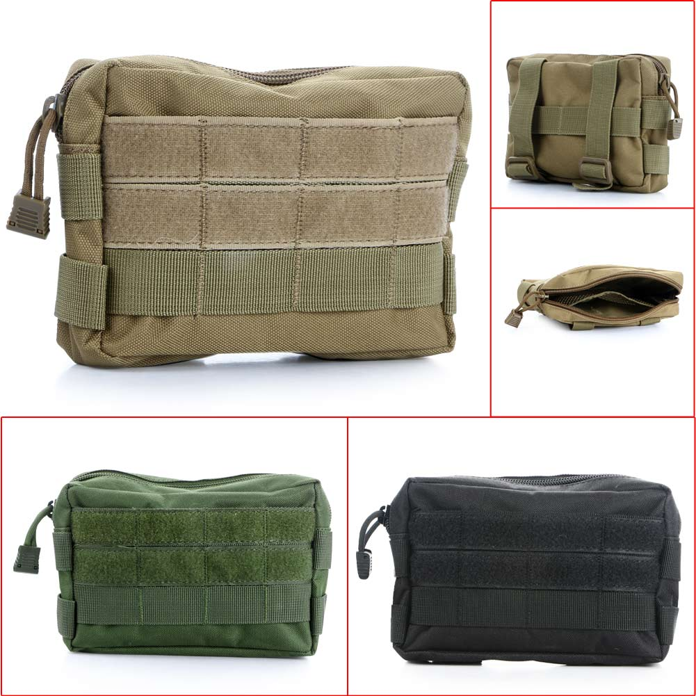 Durable 1000D Outdoor Military Tactical Waist Bag Multifunctional EDC Molle Tool Zipper Waist Pack Accessory Belt Hanging Pouch