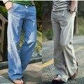 Primavera masculino plus size Mid Cintura Elástica Comprimento Total Solto Reta calças de linho dos homens de verão Respirável calças de linho sólida
