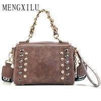 Fashion Rivet Women Handbags Short Chain Women Messenger Bags Retro Wide Strap Tote Bag Famous Brand Oil Leather Letter Bags
