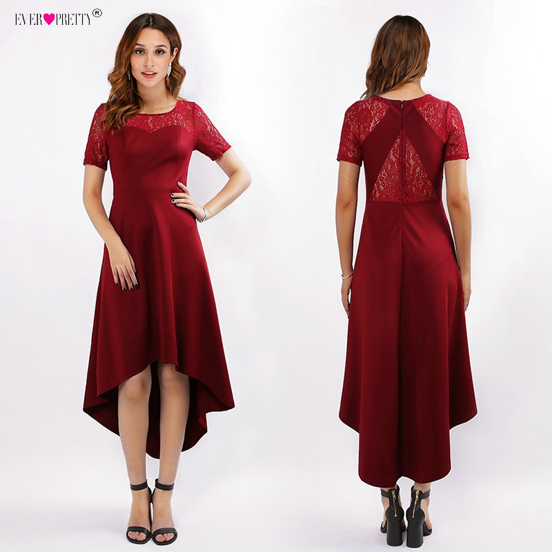 Ever Pretty Asymmetrical Cocktail Dresses Burgundy High/Low Little Party Dress Illusion Lace Short vestidos coctel mujer 2018