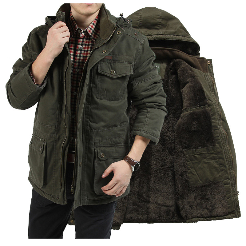 AFS JEEP Plus Size M-5XL Men's Winter Jacket 100% Cotton Warm Thicken Military Coats & Jackets thick Padded Men Parkas hood free shipping winter parkas men jacket new 2017 thick warm loose brand original male plus size m 5xl coats 80hfx