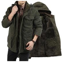 Chaqueta de invierno M 7XL Hombre, Parkas de terciopelo grueso 8X, abrigo caliente de talla grande, chaquetas militares con capucha acolchadas de algodón, 2020