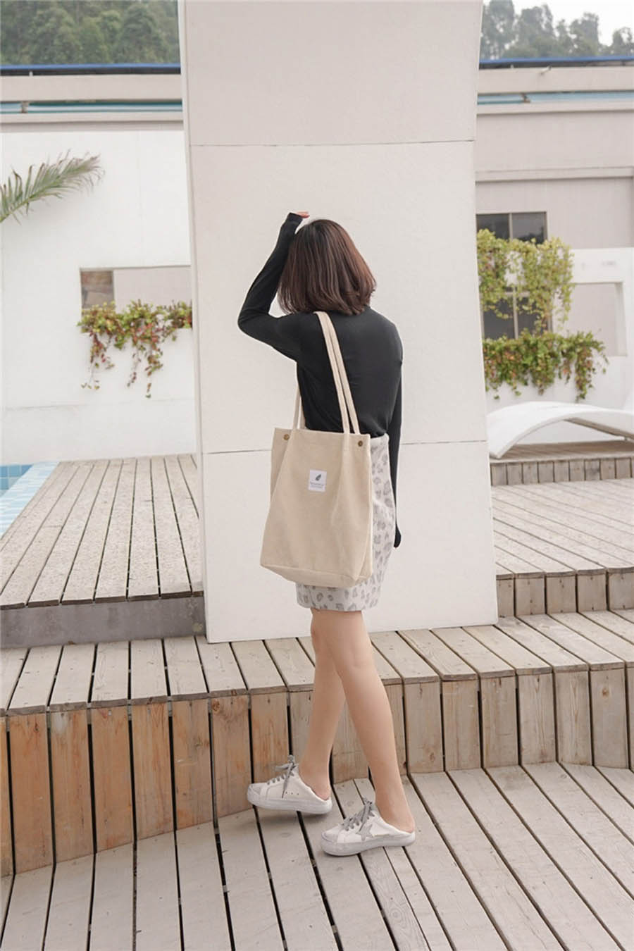 Mara's Dream High Capacity Women Corduroy Tote Ladies Casual Solid Color Shoulder Bag Foldable Reusable Women Shopping Beach Bag 32