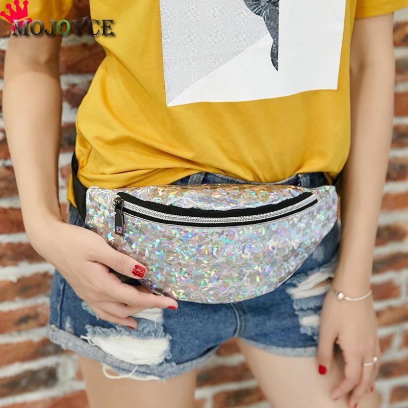 2019 Sports Fashion Women Ladies Sequins Waist Packs Simple Girls Teenage PU Leather Zipper Shoulder Bags Chest Bag
