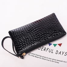 heymister New  women Cosmetic Bag  for 2019 Case Portable  PU leather Crocodile pattern Makeup Bag  Pouch Mobile phone Holder crocodile pattern anti radiation signal shielding protective pu bag case for mobile phone brown