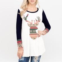 women t-shirts tee 2019 woman t 2019s xxl shirt Christmas deer printed autumn winter female tshirt