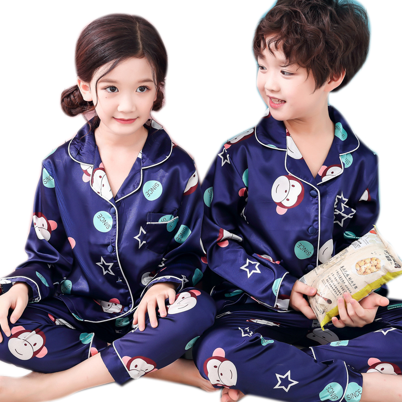 Boys   Pajamas   2019 Spring Autumn Long Sleeve Children's Sleepwear   Set   Silk   Pajamas   Suit Girls Pyjamas   Sets   for Kids Tracksuit