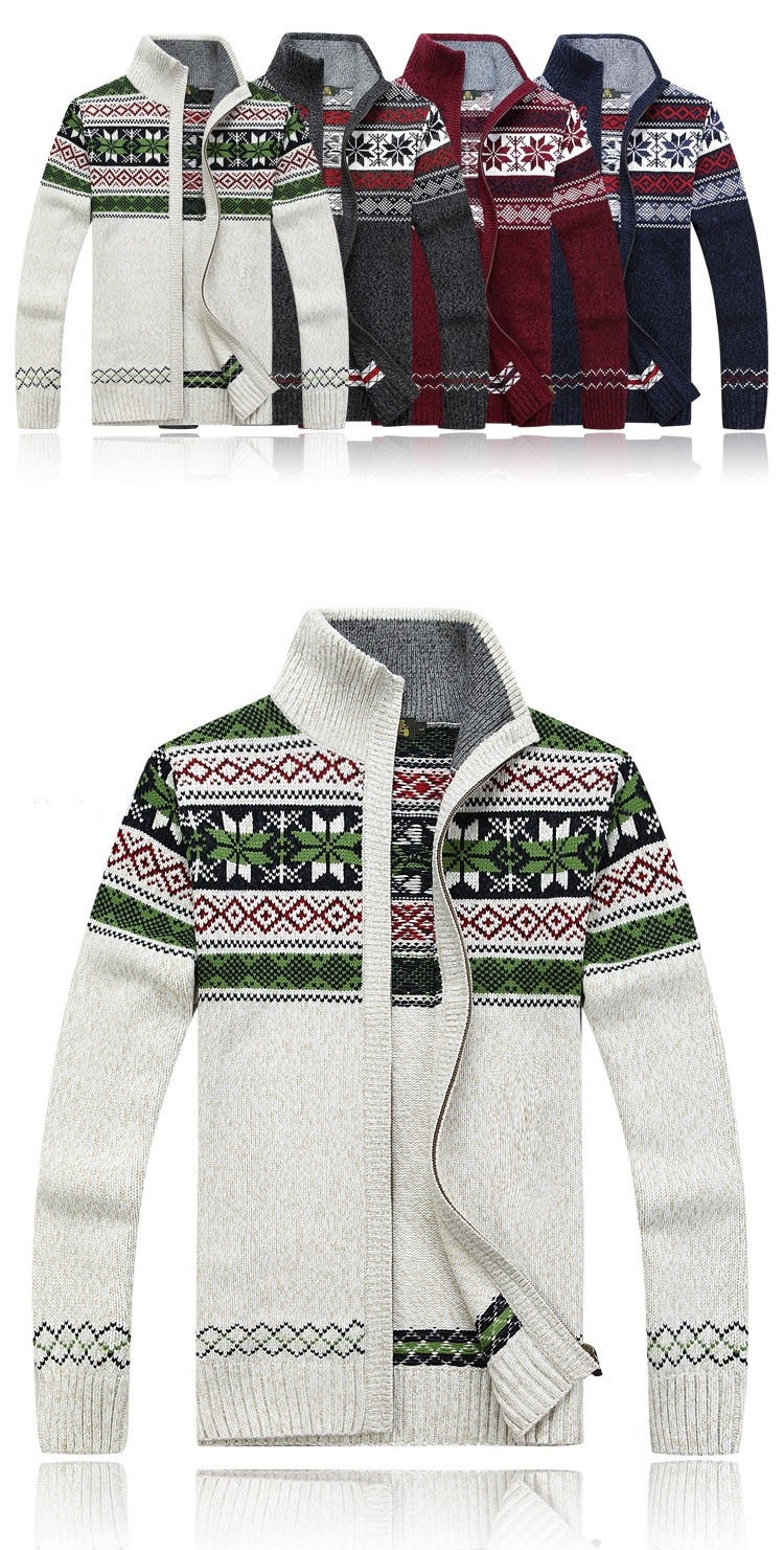 Aolamegs Men Sweater Autumn Winter Wool Cardigan Jacket Men\'s Fashion Casual Jacquard Sweater Coat Christmas Knitted Wear Hombre (7)