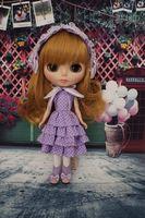 Handmade [Wamami] Doll Dot Pullip Blyth Outfit Purple Azone Dress Cute Dress