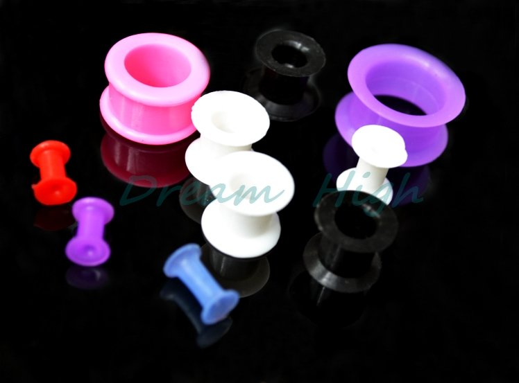 New Arrival Purple Flexible Flesh Tunnel Ear Piercing Ear Expander Plugs Silica For Women Girl 100pcs